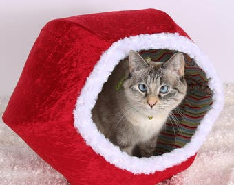 Red velvet Christmas pet bed with white fur trim, Christmas pet ideas, Pod style cat bed, cat bed two openings, the Cat Ball cat bed