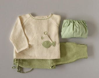 ON SALE Knitted sweater,  pants. Green and pearl. Crochet fish. 100% cotton. READY To Ship size newborn.
