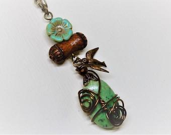Bird Necklace, Bird Jewelry, Flying Bird Necklace, Boho Bohemian Necklace, Art  Necklace, Collage Necklace
