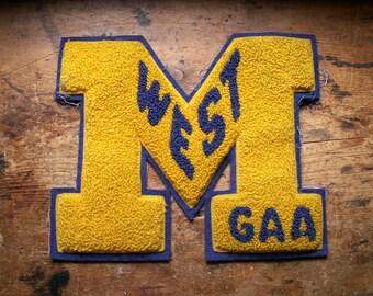 Vintage Varsity Letter Jacket Blue and Yellow Felt Patch - M West GAA