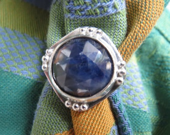 Large Faceted Blue Sapphire in Granulated Argentium Ring Size 7