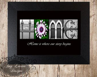 HOME Alphabet Photography Letter Art with quote (various sizes)
