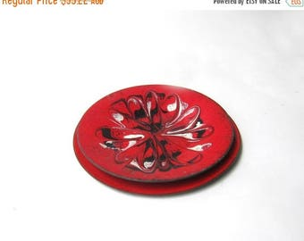 ON SALE Vintage retro 1960s mid century mod red, black and white enamel copper dish set