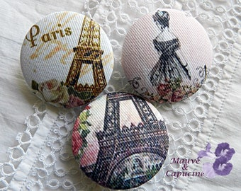 3 fabric buttons, Paris retro, 1.25 in / 32 mm