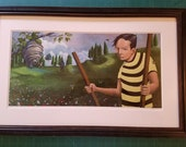 Beekeeper and the Bear (framed with white mat)