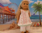 Summer Dress Hand Made fits 18 inch American Girl Dolls, Pink Roses Summer Top,  Capris and Hair Band, Summer Doll Outfit