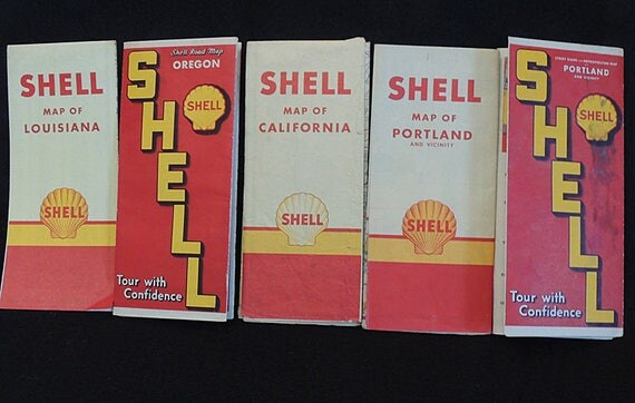 5 SHELL OIL CO Road Maps 1939-1949.. Portland, Oregon, California & Louisiana