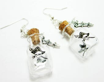 Pirate Earrings Pirate Glass Bottle Charms Dagger Sword Charm Corked Bottles Cosplay Halloween Earrings 372
