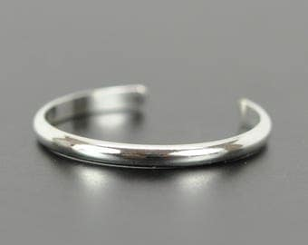 Sterling Silver Toe Ring, Adjustable Half Round Toe Ring, Kristin Noel Designs