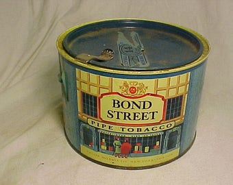 Vintage Bond Street Pipe Tobacco Philip Morris New York, Round Tobacco Tin Can, Man Cave Decor