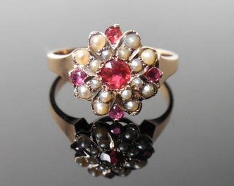 Belle Epoch Antique Tourmaline Pearl 10k Ring (No. 1421)