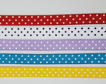 Grosgrain Ribbon, Swiss Dot, 3/8 Inch - 9mm, Red, Yellow, Lavender, Turquoise, White, Polka Dot Trim