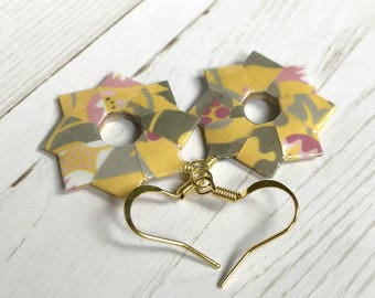 Yellow Floral Rings Origami Earrings
