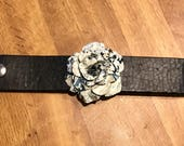 Recycled Bridal Leather Cuff Bracelet with Tin Flower
