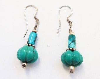 Turquoise Earrings, Southwestern Earrings, Turquoise Sterling Silver Earrings, Women's Earrings