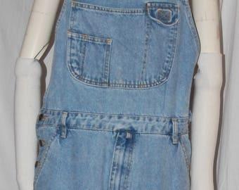 vintage 80s denim overalls, bib front, y back, light blue jeans, coveralls, large vintage, rivet buttons, big pockets, cotton denim