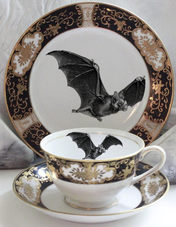& Gorgeous Black u0026 Gold Bat (or Custom) Tea Trio Bat Tea Set
