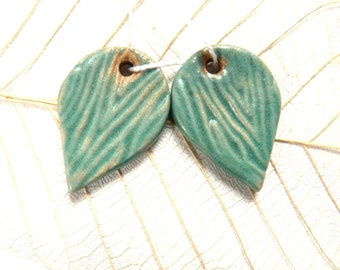 Ceramic earring charms ~ handmade  turquoise teardrop charms, supplies for jewellery making, jewelry findings, clay charms, drop earrings