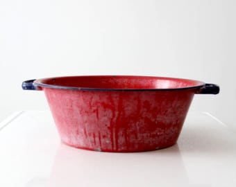 vintage enamel bowl with handles, red enamelware basin