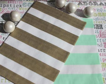 GLAM SALE 50 Gold and Mint Rugby Stripe Candy Bags, Gold and Mint Wedding Favor Bags, Popcorn Bags,  Mint and Gold Cany Bags - (25) ea. colo