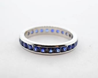 18K White Gold 1ctw Blue Sapphire Eternity Band -Size 5
