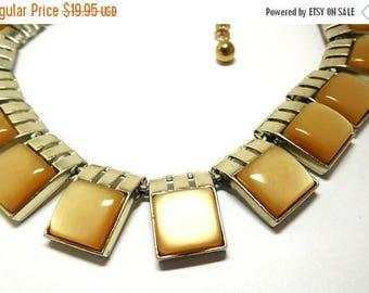 SALE Caramel Moonglow Necklace 50s 60s Art Deco Modern fashion Choker