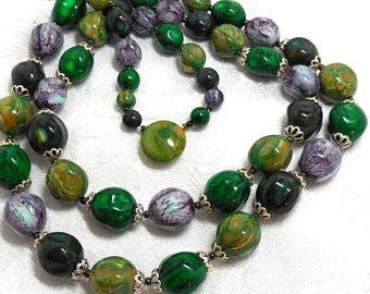 Vintage Necklace Green Purple Bright 2 Strand beaded Fashion Modern 60's Style Chic