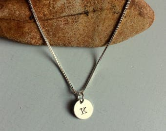 Silver Letter K Necklace Stamped Silver Disc Monogram Necklace