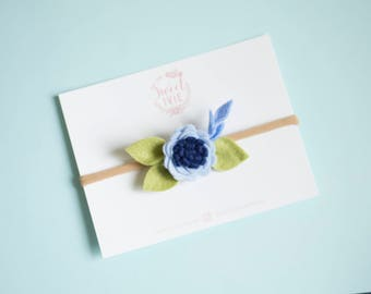 Petite Flower headband, Baby bloom headband, newborn headband, tiny newborn headband, tiny flower headband, tiny baby headband,Blue headband