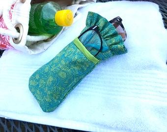 Green mini floral dual sunglass case