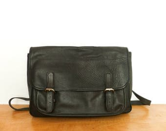 Vinatge Black Leather Messenger Bag Satchel Crossbody Shoulder Bag / Soft Slouchy Leather / Mens Womens