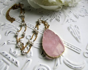 Rose Quartz Necklace Long Layering Necklace Long Gold Necklace Boho Jewelry Pearl Necklace 1920s Jewelry Quartz Necklace Rose Quartz Jewelry