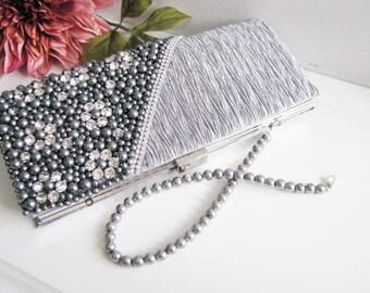 Gray and Silver color Satin Pearl Rhinestone Bag, Necklace Wedding Bridal Bag Clutch Formal Wear
