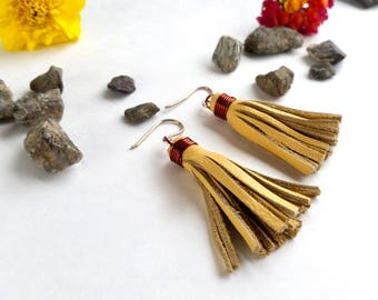 Boho Leather Fringe Earrings - Light Yellow - Genuine Leather - Recycled - Sterling Earwires - Dangle