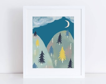 Kid's Room Wall Decor, Mountain Illustration, Pacific Northwest Art, Moonlit Mountains, Baby Shower, Giclee Print, Nature Inspired, 8x10