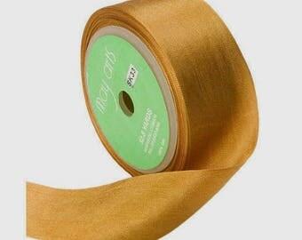 Gold Silk Ribbon, 1.25 Inch Silk Ribbon, Gold Ribbon. Gift Wrap, Packaging, Wedding Favors,
