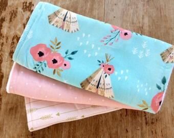 Modern Teepee Burp ClothSet, Watercolor Floral, Baby Gift, Teepee Baby Item