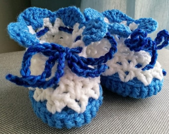 Crochet Baby Booties White Blue