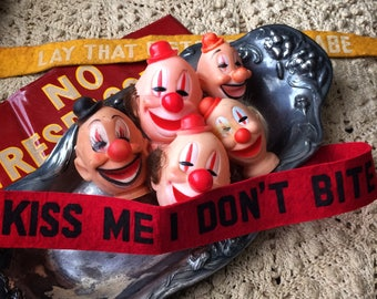 5 Clowns & A Weirdo Vintage Salvaged Rubber Doll Heads