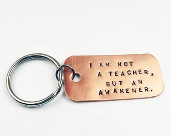 Teacher Gift with Inspirational Poet Quote - Copper or Brass Keychain for Back to School or Teacher Appreciation