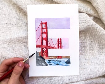 San Francisco Golden Gate Bridge Letter E original or print
