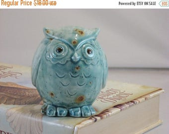 SALE Green/Blue Teal Owl figurine collectible ceramics hand painted home decoration. The great horned owl.