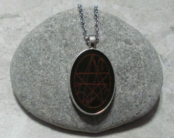 Necronomicon Necklace Pendant Black And Red