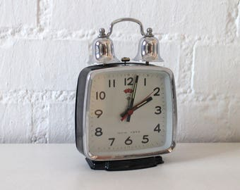 Large Vintage Working Alarm Clock Two Bell - Black and Silver metal - Retro alarm clock  60s - 70s
