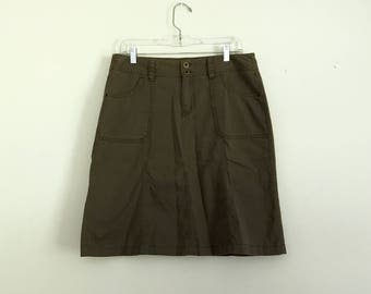 1990s Army green cotton mini skirt - size medium