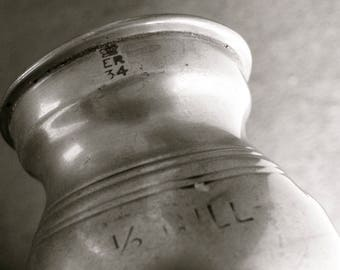 """1/2 PEWTER GILL MEASURE Signed Anderson Bros. Glasgow Verification Mark Crown """"E R 34"""" Banded Middle Bulbous Shape Scottish Antique 1800's"""