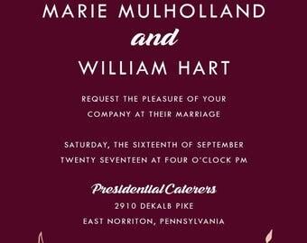 Custom Listing for Marie Santarsiero, Burgundy and Rose Gold Wedding Invitation Set | Laurel Wreath Stationery | Discount Invite Suite