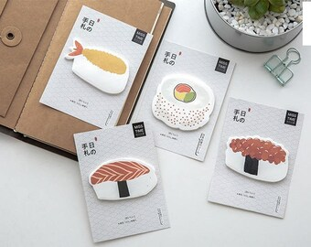 E038 Sushi Sticky Notes /Post It Notes, cute notes paper, paper ephemera, scrapbooking, food, memo, note pad, reminder notes, stationery