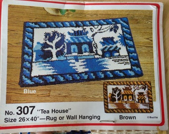 Tea House Patterned Latch Hook Rug Canvas by Bucilla Tapestry