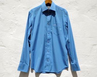 Blue shirt mod shirt retro shirt date shirt party shirt slim shirt elegant shirt weekend shirt